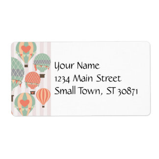 Pastel Hot Air Balloons Rising Pink Striped Sky Label