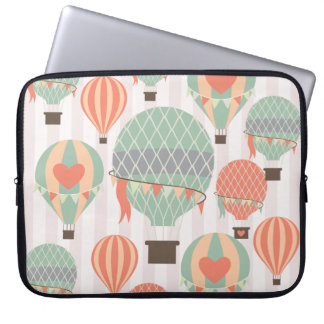 Pastel Hot Air Balloons Rising Pink Striped Sky Laptop Sleeves