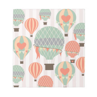 Pastel Hot Air Balloons Rising Pink Striped Sky Notepad