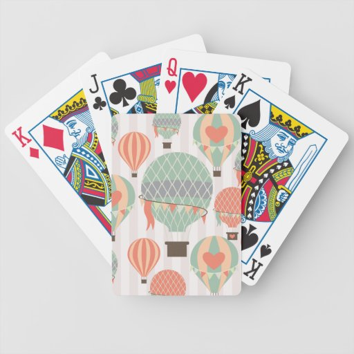 Pastel Hot Air Balloons Rising Pink Striped Sky Poker Cards