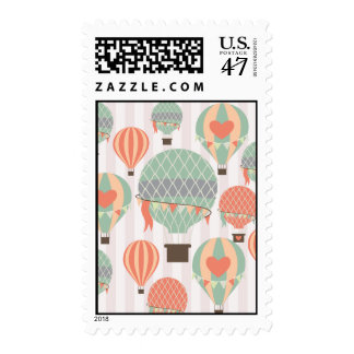 Pastel Hot Air Balloons Rising Pink Striped Sky Postage