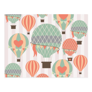 Pastel Hot Air Balloons Rising Pink Striped Sky Postcard