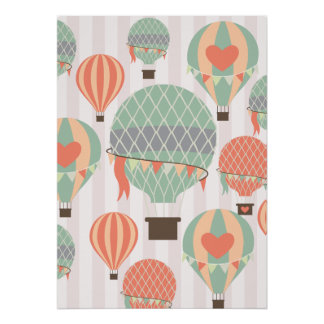 Pastel Hot Air Balloons Rising Pink Striped Sky Poster