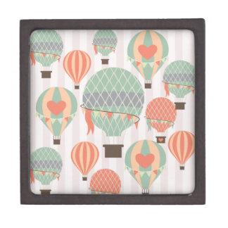 Pastel Hot Air Balloons Rising Pink Striped Sky Premium Trinket Boxes