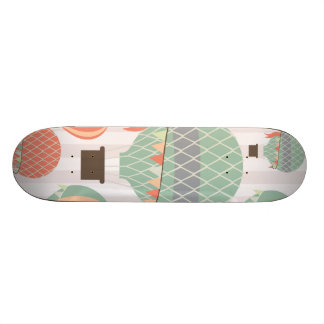 Pastel Hot Air Balloons Rising Pink Striped Sky Skate Boards