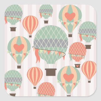 Pastel Hot Air Balloons Rising Pink Striped Sky Square Sticker