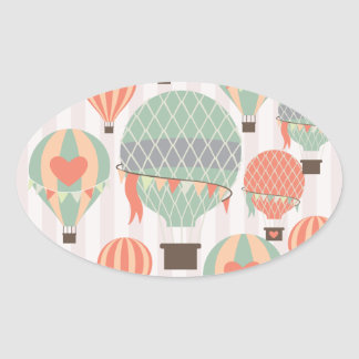 Pastel Hot Air Balloons Rising Pink Striped Sky Oval Stickers