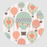 Pastel Hot Air Balloons Rising Pink Striped Sky Round Stickers