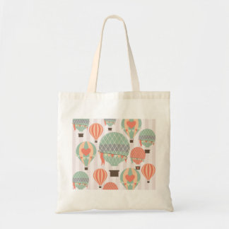 Pastel Hot Air Balloons Rising Pink Striped Sky Tote Bag