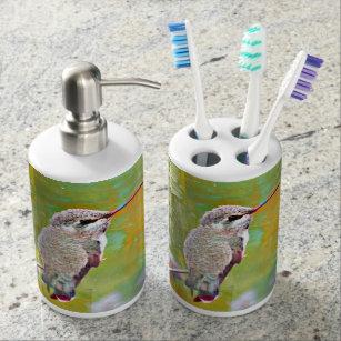 Wonderful Pastel Hummingbird Bathroom Set