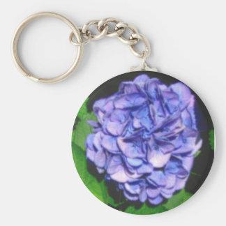 pastel hydrangea basic round button keychain