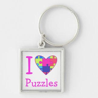 Pastel I Heart Puzzles Keychain