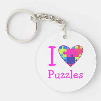 Pastel I Heart Puzzles Keychains