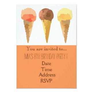 Pastel ice-cream girl's birthday party card