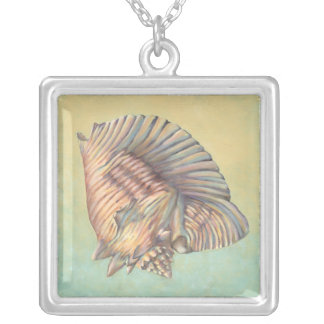 Pastel Large Conch Shell Silver Plated Necklace