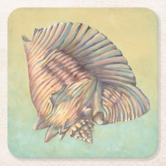 Pastel Large Conch Shell Square Paper Coaster