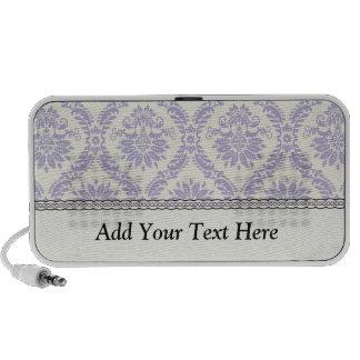 pastel lavender and cream ecru ivory lovely damask iPod speakers