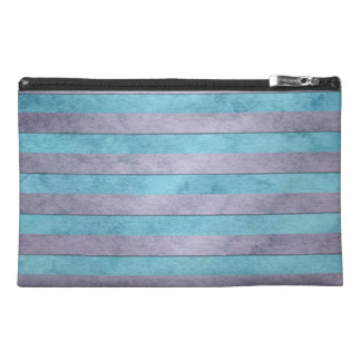 Pastel Lavender and Teal Blue Stripes Pattern Travel Accessory Bags