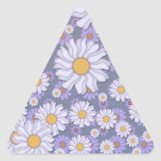 Pastel Lavender Daisies Art Triangle Sticker