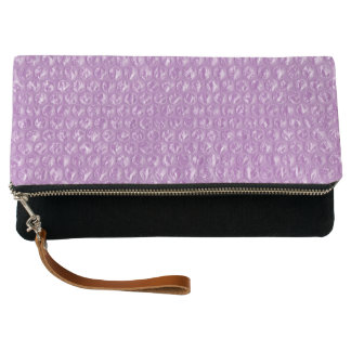 Pastel Lavender Grape Pop Bubble Wrap Purple Clutch