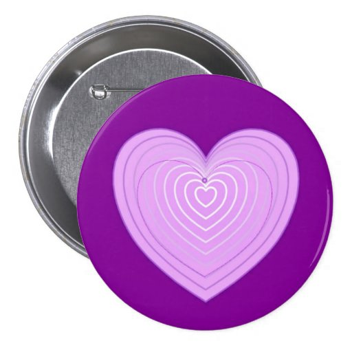 Pastel lavender heart on a deep purple background pinback buttons