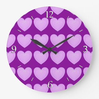 Pastel lavender hearts on a deep purple background large clock