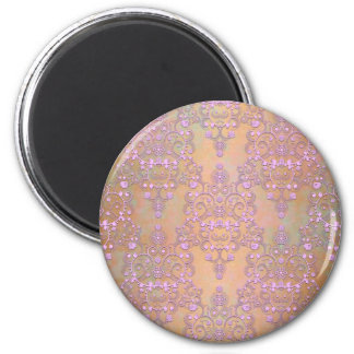 Pastel Lavender over Peachy Gold Lace Damask 2 Inch Round Magnet