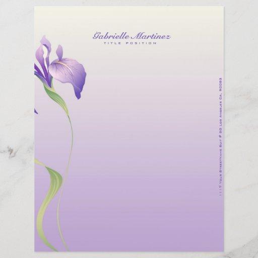 Pastel Lavender Purple Flower Natural Spa Letterhead