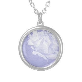 PASTEL LAVENDER ROSE SILVER PLATED NECKLACE