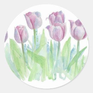 Pastel Lavender Tulips Flower Watercolor Art Classic Round Sticker
