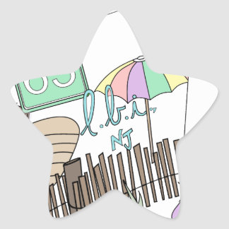 Pastel LBI Love Collage Star Sticker