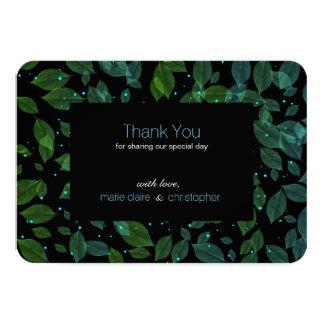 Pastel Leaves Fall Wedding Romantic Dark Thank You Card