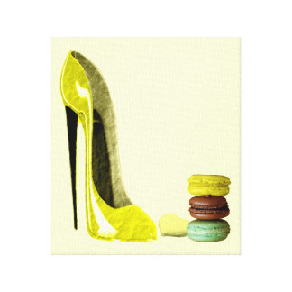 Pastel Lemon Stiletto and French Macaroons Canvas