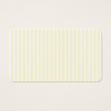 Beach Themed Pastel Lemon Yellow and White Stripes Pale Yellow Business Card