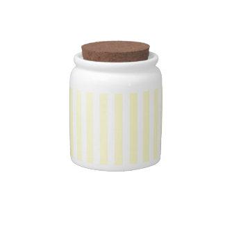Pastel Lemon Yellow and White Stripes Pale Yellow Candy Jar