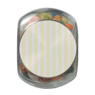 Pastel Lemon Yellow and White Stripes Pale Yellow Glass Jar