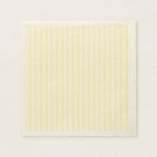 Pastel Lemon Yellow and White Stripes Pale Yellow Napkin