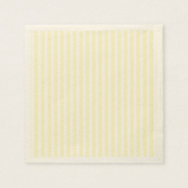 Beach Themed Pastel Lemon Yellow and White Stripes Pale Yellow Napkin