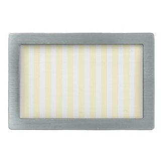 Pastel Lemon Yellow and White Stripes Pale Yellow Rectangular Belt Buckle