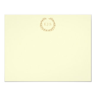 Pastel Lemon Yellow Pale Butter Wreath and Sprig Card