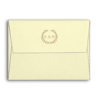 Pastel Lemon Yellow Pale Butter Wreath and Sprig Envelope