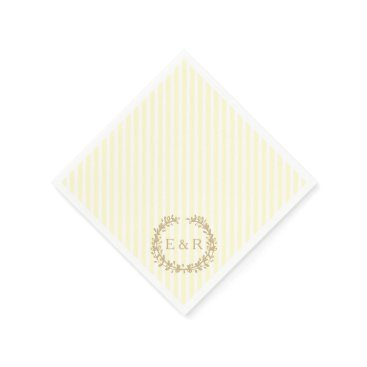 Beach Themed Pastel Lemon Yellow Pale Butter Wreath and Sprig Paper Napkin
