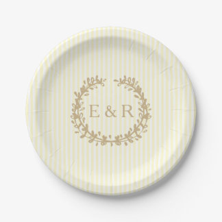 Pastel Lemon Yellow Pale Soft Butter Wreath/Sprig Paper Plate