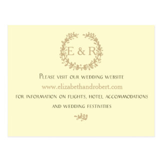 Pastel Lemon Yellow Wreath and Sprig Wedding Postcard