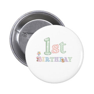 Pastel Letters 1st Birthday Pinback Button