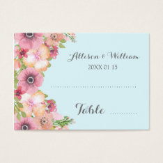 Pastel Light Blue Pink Floral Place Setting Cards at Zazzle