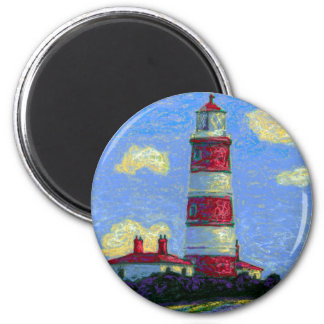 Pastel Lighthouse and Lavender Fields Magnet