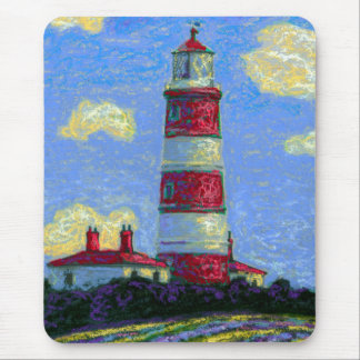 Pastel Lighthouse and Lavender Fields Mouse Pad