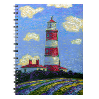 Pastel Lighthouse and Lavender Fields Spiral Notebook