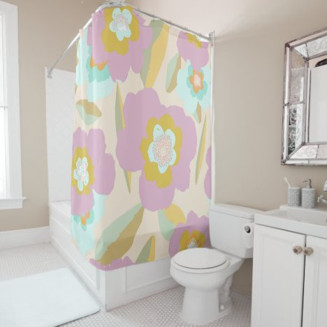 Pastel Lilac and Blue Abstract Floral Pattern Shower Curtain